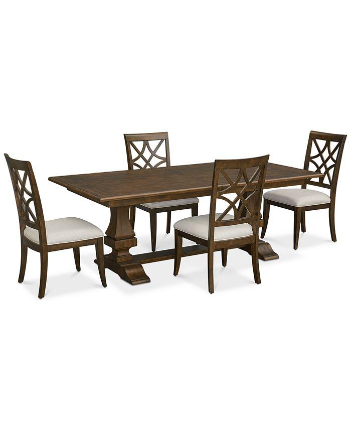 Trisha Yearwood Home - Trisha Dining Furniture, 5-Pc. Set (Expandable Table & 4 Side Chairs)