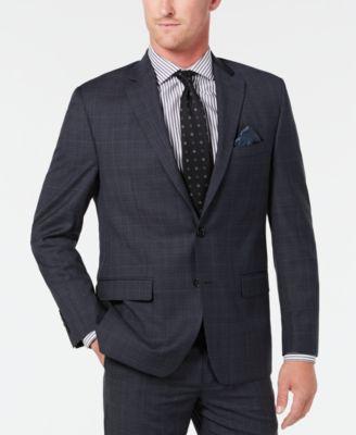 Men's Classic-Fit UltraFlex Stretch Gray/Blue Plaid Suit Separate Jacket