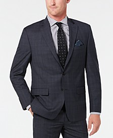 Men's Classic-Fit UltraFlex Stretch Gray/Blue Plaid Suit Separate Jacket