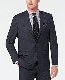 Lauren Ralph Lauren Men's Classic-Fit UltraFlex Stretch Gray/Blue Plaid Suit Separate Jacket