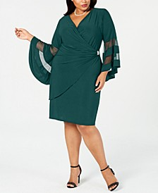 Plus Size Illusion Bell-Sleeve Dress