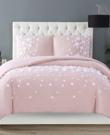 Confetti Flowers 3 Piece Blush Full/Queen Comforter Set