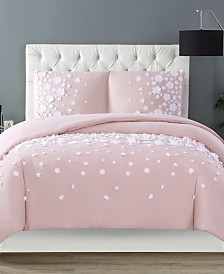 Christian Siriano Confetti Flowers 3 Piece Blush Full/Queen Comforter Set