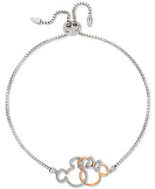 Cubic Zirconia Minnie & Mickey Silhouette Bolo Bracelet in Sterling Silver & 18k Gold-Plate