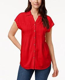 Pleated Cuffed-Sleeve Top, Created for Macy's