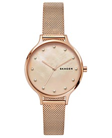 Women's Anita Rose Gold-Tone Stainless Steel Mesh Bracelet Watch 36mm