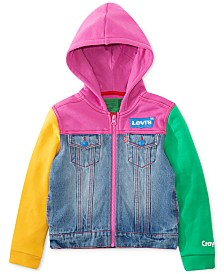 Levi's® Toddler Girls Crayola Hooded Colorblocked Denim Trucker Jacket