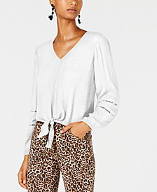 INC Gauze Tie-Front Top, Created for Macy's
