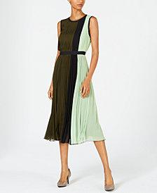 Alfani Petite Colorblocked Pleated Midi Dress, Created for Macy's