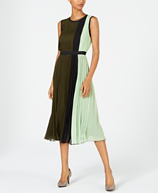 Alfani Colorblocked Pleated Sleeveless Dress, Created for Macy's