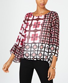 Alfani Petite Batik-Print Top, Created for Macy's