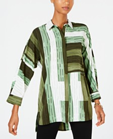 Alfani Striped Colorblocked Shirt, Created for Macy's