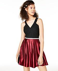 Juniors' Embellished Colorblocked Fit & Flare Dress