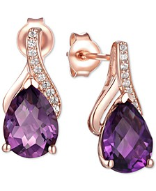 Amethyst (2-1/10 ct. t.w.) & Diamond Accent Drop Earrings in 14k Rose Gold (Also Available in Rhodolite Garnet, Mystic Topaz, Citrine, and Blue Topaz)