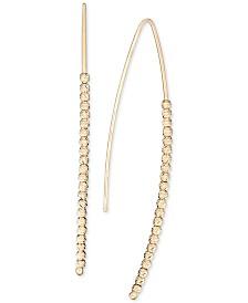 Italian Gold Beaded Threader Earrings in 14k Gold
