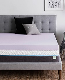 """Dream Collection by LUCID 4"""" Ventilated Lavender Memory Foam Mattress Topper, Queen"""