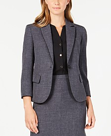 Anne Klein Piping-Trim Melange Blazer