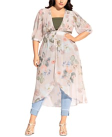 City Chic Trendy Plus Size Summer Rose Jacket
