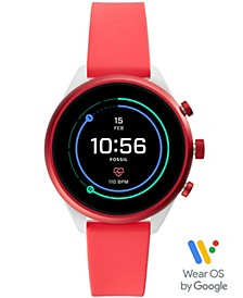 Women's Sport HR Red Silicone Strap Smart Watch 41mm, Powered by Wear OS by Google™