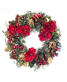 "30"" Pre-Lit LED Wreath - Red Magnolia"