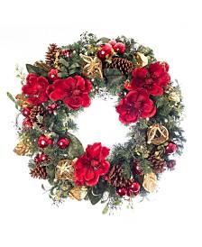 "Village Lighting 30"" Pre-Lit LED Wreath - Red Magnolia"