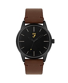 Farah Men's the Classic Collection Tan Leather Strap Watch 42mm