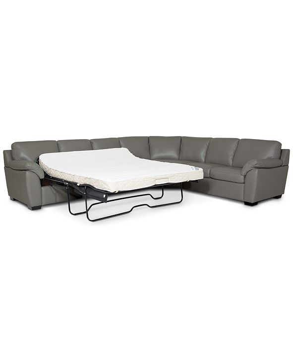 Furniture Lothan 3-Pc. Leather Queen Sleeper Sectional Sofa, Created for Macy's