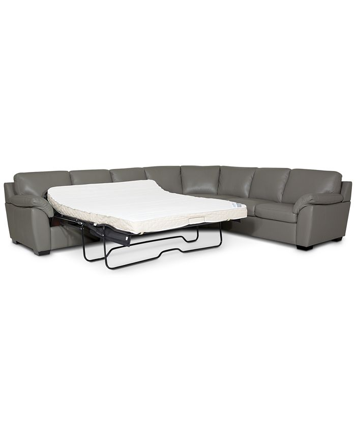 Furniture - Lothan 3-Pc. Leather Queen Sleeper Sectional Sofa