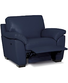 """Lothan 41"""" Leather Power Footrest Recliner, Created for Macy's"""