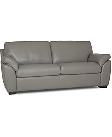 """Lothan 82"""" Leather Apartment Sofa with 2 Cushions, Created for Macy's"""
