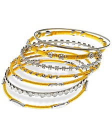 GUESS Silver-Tone 7-Pc. Set Bead & Thread-Wrapped Bangle Bracelets, Created for Macy's