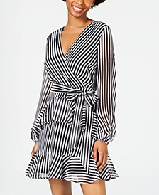Juniors' Striped Ruffle Dress, Created for Macy's
