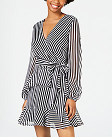 Material Girl Juniors' Striped Ruffle Dress, Created for Macy's