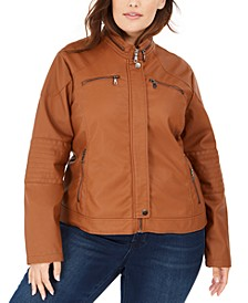 Juniors' Plus Size Faux-Leather Moto Jacket