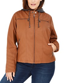 Maralyn & Me Juniors' Plus Size Hoodie Faux-Leather Moto Jacket