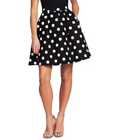 CeCe Dappled Dot A-Line Skirt