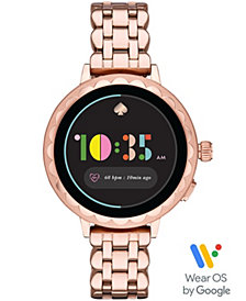kate spade new york Women's Scallop Rose Gold-Tone Stainless Steel Touchscreen Smart Watch 41mm, Powered by Wear OS by Google™