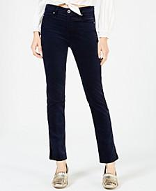 Mari Straight-Leg Velvet Tuxedo Jeans