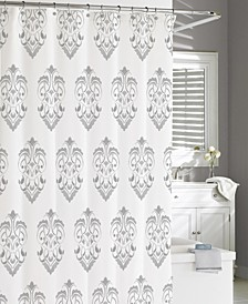 Cotton Printed Crest Shower Curtain