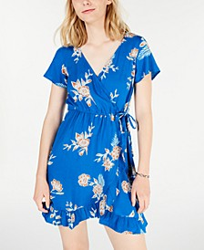 Juniors' Floral-Print Ruffled Wrap Dress