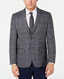 Men's Modern-Fit THFlex Stretch Grey Textured Windowpane Sport Coat