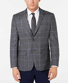 Tommy Hilfiger Men's Modern-Fit THFlex Stretch Gray Textured Windowpane Sport Coat