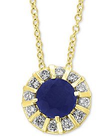 EFFY® Sapphire (3/4 ct. t.w.) & Diamond (1/4 ct. t.w.) Pendant in 14k Yellow Gold