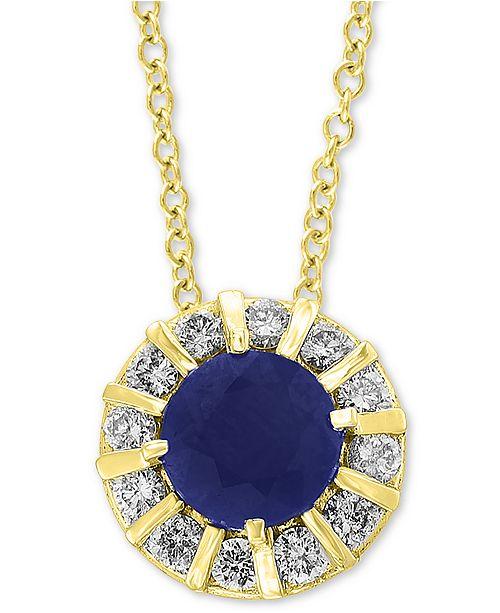 EFFY Collection EFFY® Sapphire (3/4 ct. t.w.) & Diamond (1/4 ct. t.w.) Pendant in 14k Yellow Gold