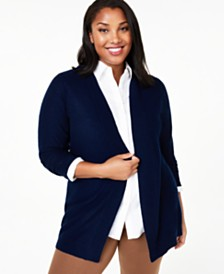 Charter Club Plus Nicki Cashmere Cardigan, Created for Macy's