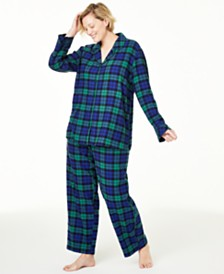 Matching Family Pajamas Plus Size Black Watch Plaid Flannel Pajama Set, Created For Macy's
