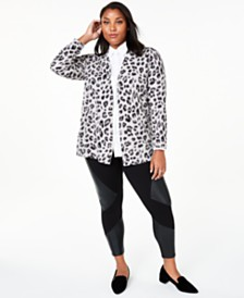 Charter Club Plus Size Cheetah-Print Cashmere Completer Sweater, Created for Macy's