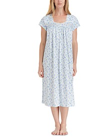 Floral-Print Cotton Ballet Nightgown