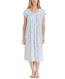 Eileen West Floral-Print Cotton Ballet Nightgown