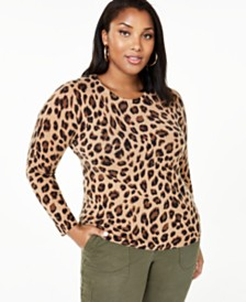 Charter Club Plus Size Animal Print Cashmere Sweater, Created for Macy's